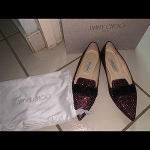 Jimmy Choo Flat Gala Glitter Skimmer Sz 40